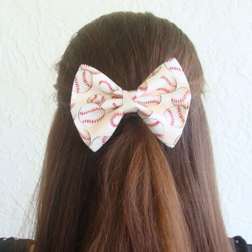 Baseball Softball Hair Bow Hair Clip Teen Woman