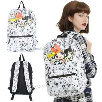 Licensed cool The Powerpuff Girls Trio Backpack School Book Bag Blossom Bubbles Buttercup NEW