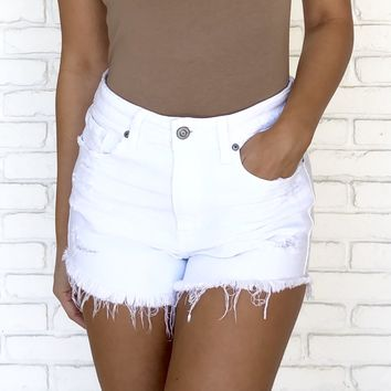 White Out High Waist Distressed Cut Off Shorts
