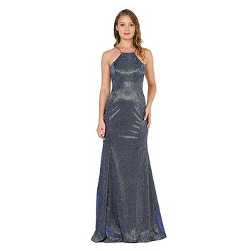 Royal Blue Halter Long Prom Dress Cut-Out Back with Slit