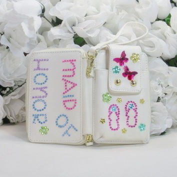 Maid Of Honor Gifts - Bridal Party Gifts - Phone Wallet - Iphone 4 Case - Personalized Phone Case - Custom Phone Case - Wallet