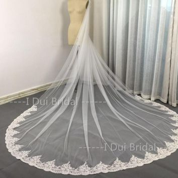 Lace Long Bridal Scarf Wedding Shawl with Crystal Beaded Lace Cape Cloak