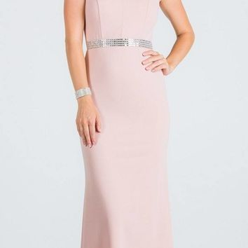 Blush Embellished Waist V-Neck Long Formal Dress