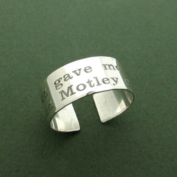 Personalized Wide Sterling Silver Ring / Adjustable Engraved Band