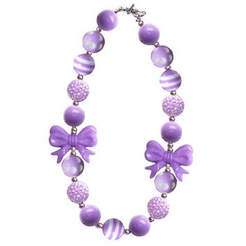 Lavender Stripe Necklace Bow Gumball Chunky