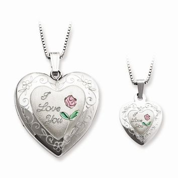 Sterling Silver Rose I Love You Heart Mom Locket & Daughter Pendant Necklace
