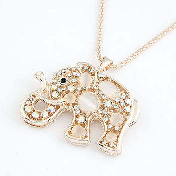 Korean Gold Plated Long Necklace Women Cat Eye Elephant Necklaces & Pendants Women Accessories Bijoux Femme