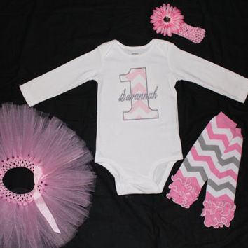 GIRL Pink And Grey Chevron Personalized Number 1 First 1st Birthday Tutu OUTFIT Outfit Embroidered