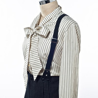 Vintage 80's Pinstripe High-Waisted Trousers with Suspenders and Bow Front Blouse size Medium