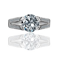 3 CT.(9mm) Intensely Radiant Round Diamond Veneer Cubic Zirconia Tension Style Vintage Miligree Design Engagement Set in Sterling Silver Ring. 635R13624