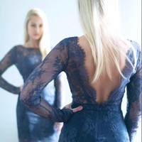 Hot Sexy Long Sleeves Cocktail Dress Navy Blue Short Lace Evening Party Gowns vestidos de festa curtos noite