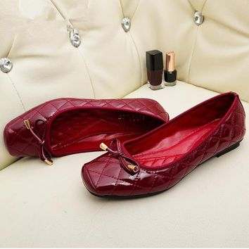 Patent Leather Flat Women Shoes