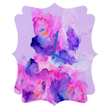 Viviana Gonzalez Watercolor Love 1 Quatrefoil Clock