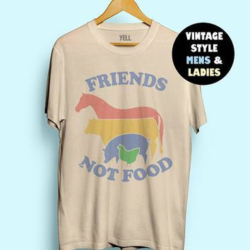 Hillbilly Friends Not Food T-shirt Vintage Tshirt Tee Gift for Vegan Shirt Vegetarian Natural Cute Tops Hippie 70s 80s 90s Tops