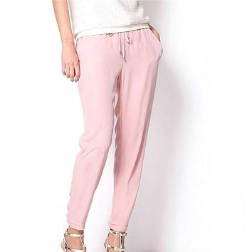 Casual Women Chiffon Pants Elastic Waist Solid Color Office OL Pants Bright Color Summer Slim Lady Pants-448E