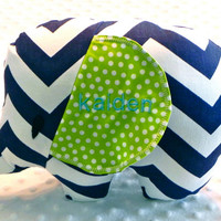 Baby Boy Navy Blue and Lime Chevron and Polka Dots Stuffed Elephant