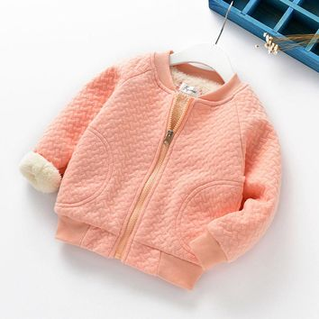 Fashion Infant Toddler Baby Girls Boys Solid Zip Warm Winter Tops Casual Clothes Coat