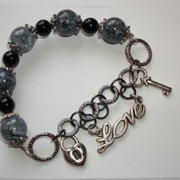 Smokey Love Chain Charm Bracelet | HopesandDreamsStudio - Jewelry on ArtFire