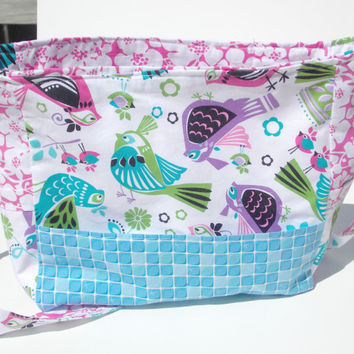 Bird's and Flower's Messenger Bag,School bag, Diaper bag, Purse, Backpack, Knap sack
