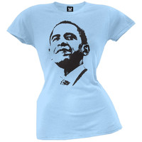 Obama - Silhouette Juniors T-Shirt - Light Blue