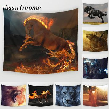 DecorUhome Fire Horse Tapestry Wall Hanging Decor Geometric Lion Print Carpet Home Decor Hanging Living Printing Wall Tapestry