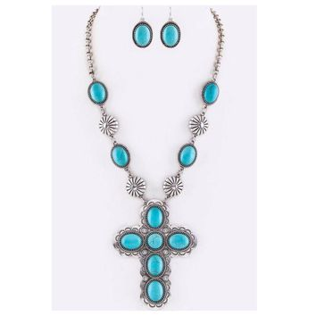 Iconic Turquoise Stone Cross and Concho Necklace Set