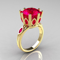 Classic 18K Yellow Gold Marquise 5.0 CT Round  Rubies Solitaire Ring R160-18KYGRR