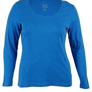 Charter Club Womens Plus Scoop Neck Long Sleeves Pullover Top