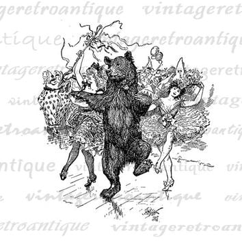 Digital Printable Dancing Bear Graphic Circus Artwork Download Image Jpg Png Eps HQ 300dpi No.356