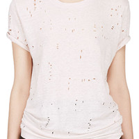 Pale Pink Linen Shredded Clay T-Shirt