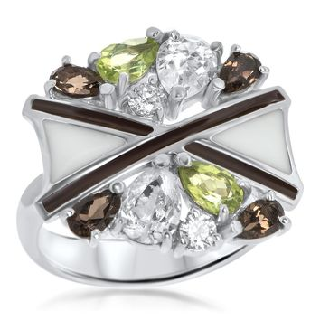 925 Silver Ring with Peridot, Smoky Quartz, Brown Enamel, White Enamel