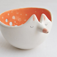 Ceramic Fox Yarn Bowl Decorated in Orange Color and with Sgraffito of Polka Dots Inside