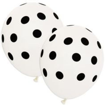 White and Black polka dot party balloon decorations x 6