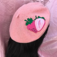 Pink Strawberry Beret