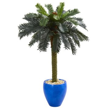 4' Sago Palm Artificial Tree in Glazed Blue Planter