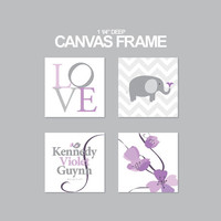 Elephant, Love, Name and Violets Canvas Art Print- Personalized nursery canvas set of 4 - 1-1/4'' deep frame- ready to hang-89