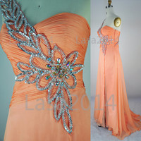 One Shoulder with Crystal Long Peach Chiffon Prom Dresses, Peach Evening Dresses, Formal Gown, Wedding Party Dresses