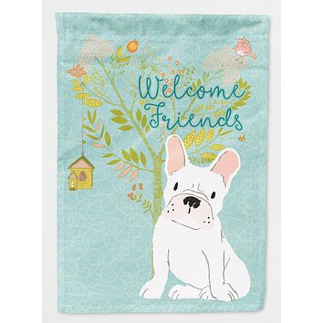 Welcome Friends White French Bulldog Flag Canvas House Size BB7635CHF