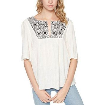 Sanctuary Womens Zambia Embroidered Short Sleeves Peasant Top
