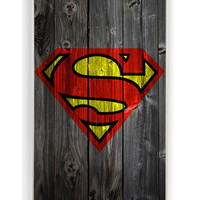 Wood Superman Logo for Iphone 4 / 4s Hard Cover Plastic