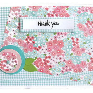 Thank You Card, Flower Card, Pink, Teal