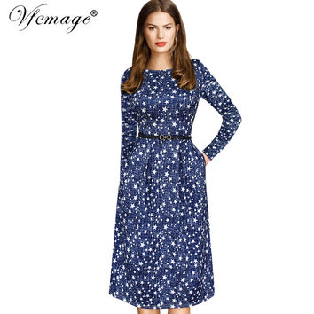 Vfemage Womens Elegant Vintage Autumn Winter Polka Dot Belted Tunic Pinup Work Office Casual Party A Line Skater Dress 2127