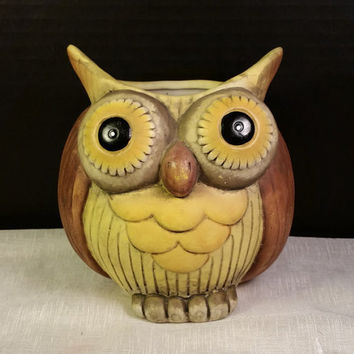 Ceramic Owl Planter Vase Hand Painted Big Bubble Eyes Owl Yellow Brown Owl Home Decor Owl Figurine Big Eyed Owl Pen Holder Vintage Owl