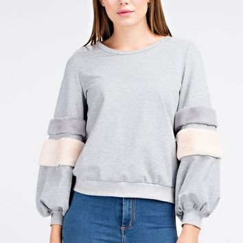Fuzzy Banded Pullover