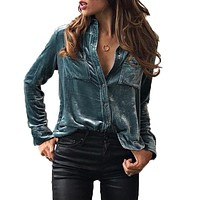 Women Blouse Turn Down Collar Shirt Long Sleeve Velvet Blusas Shirt Femininas Button Blue Top LJ8153M