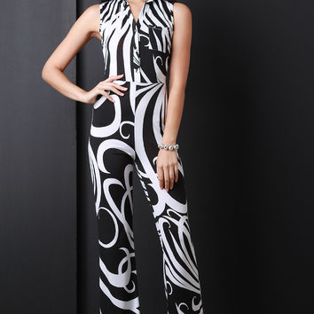 Abstract Print Sleeveless Flare Jumpsuit