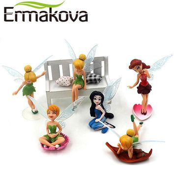 DCCKF4S ERMAKOVA 6 Pcs/Set Flower Fairy Figurine Cartoon Angel Miniature Fairy Garden Landscape Ornament Fondant Cake Decor Baking Tool