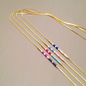 Short Necklace Boho Necklace delicate Bead necklace Tiny Gold necklace Delicate Necklace simple Layering Necklace