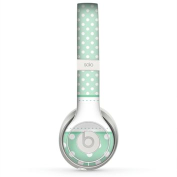 The Vintage Light Green Polka Dot With White Strip copy Skin for the Beats by Dre Solo 2 Headphones