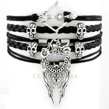 (10 PCS/Lot) Infinity Love The Walking Dead Bracelet Arrow Skull Angel Wing Biker Chick Charm Black Leather Custom any Themes